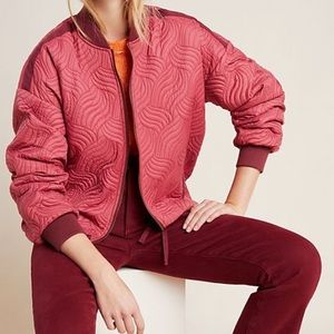 Anthropologie Vicenta Quilted Bomber Jacket S